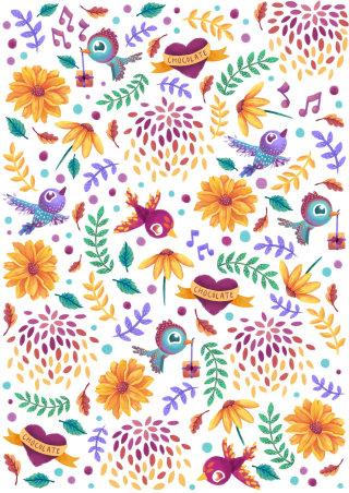 Love birds pattern illustration