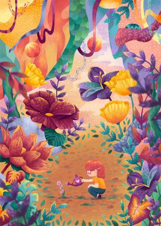Children's book illustration of child watering plant