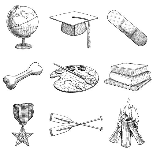 Black and white icons illustration by August Lamm