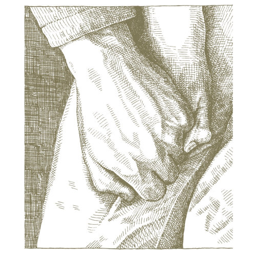 手牵着手黑白插图