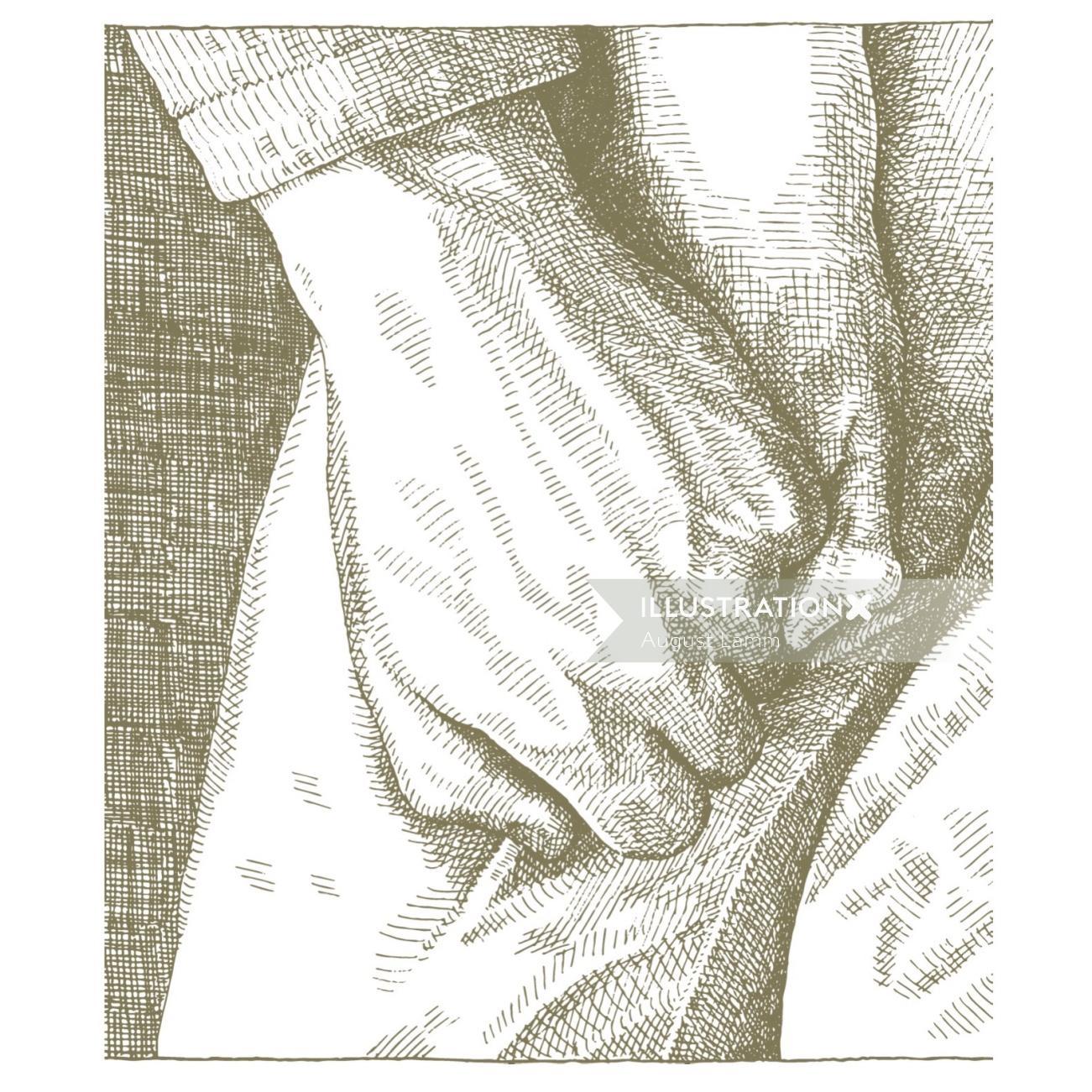 Holding hands black and white illustration