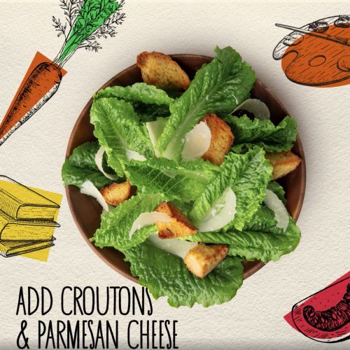 Graphic design of Add croutons & Parmesan cheese