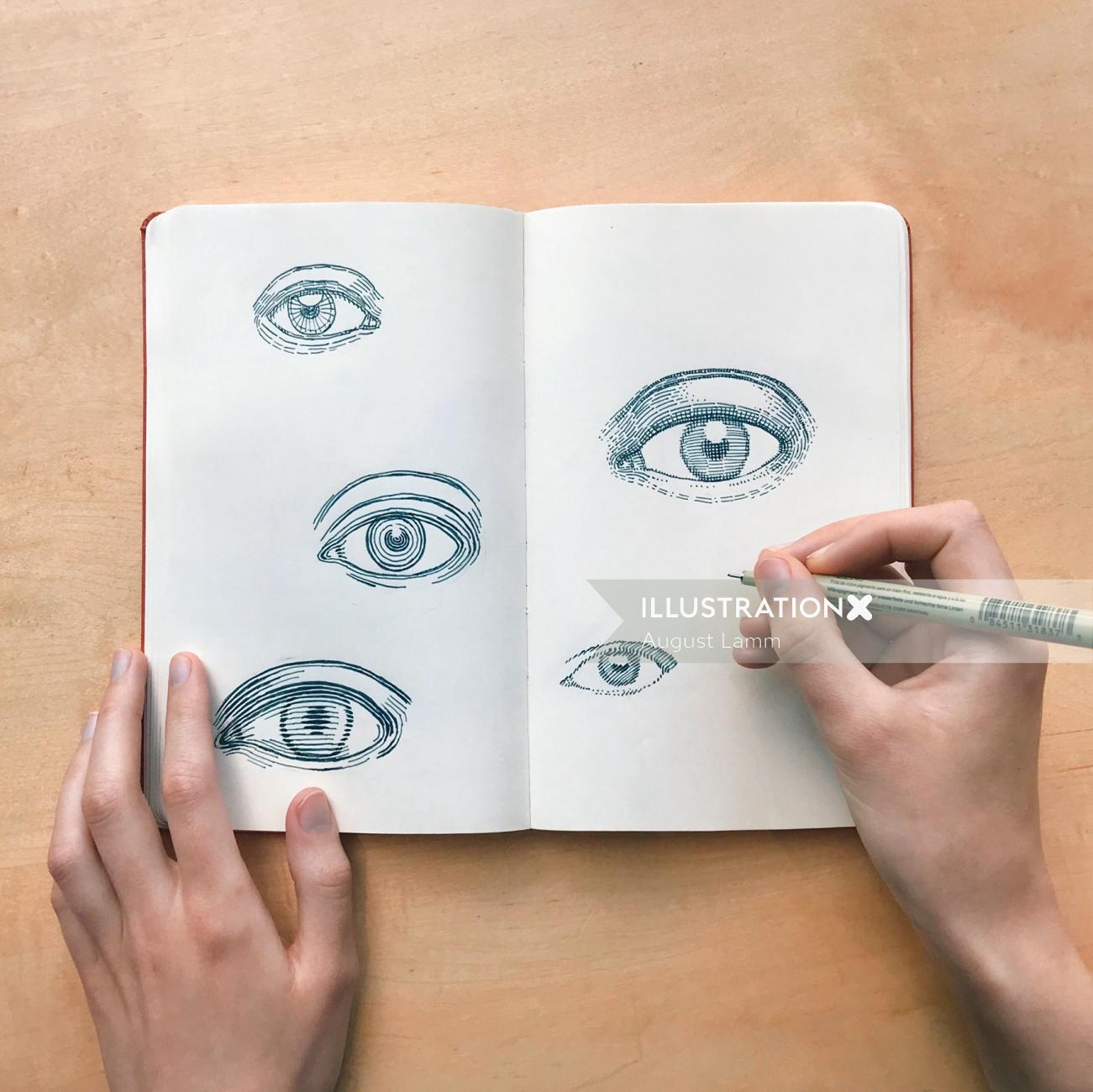 Live event drawing of different eyes by August Lamm