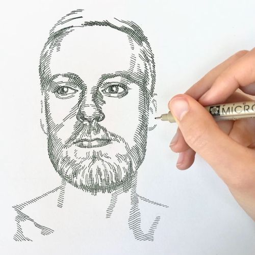 Live drawing of portrait by August Lamm