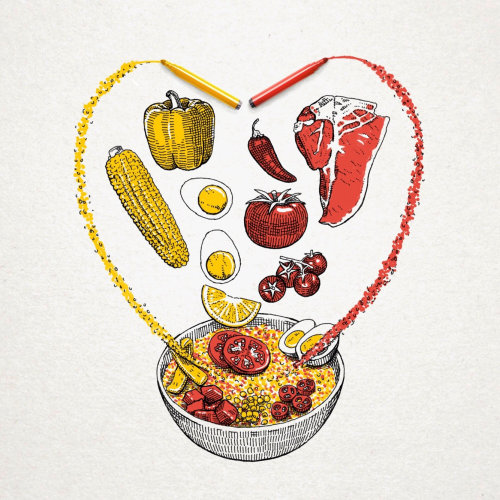 Ilustração de comida para empresa de arroz espanhol