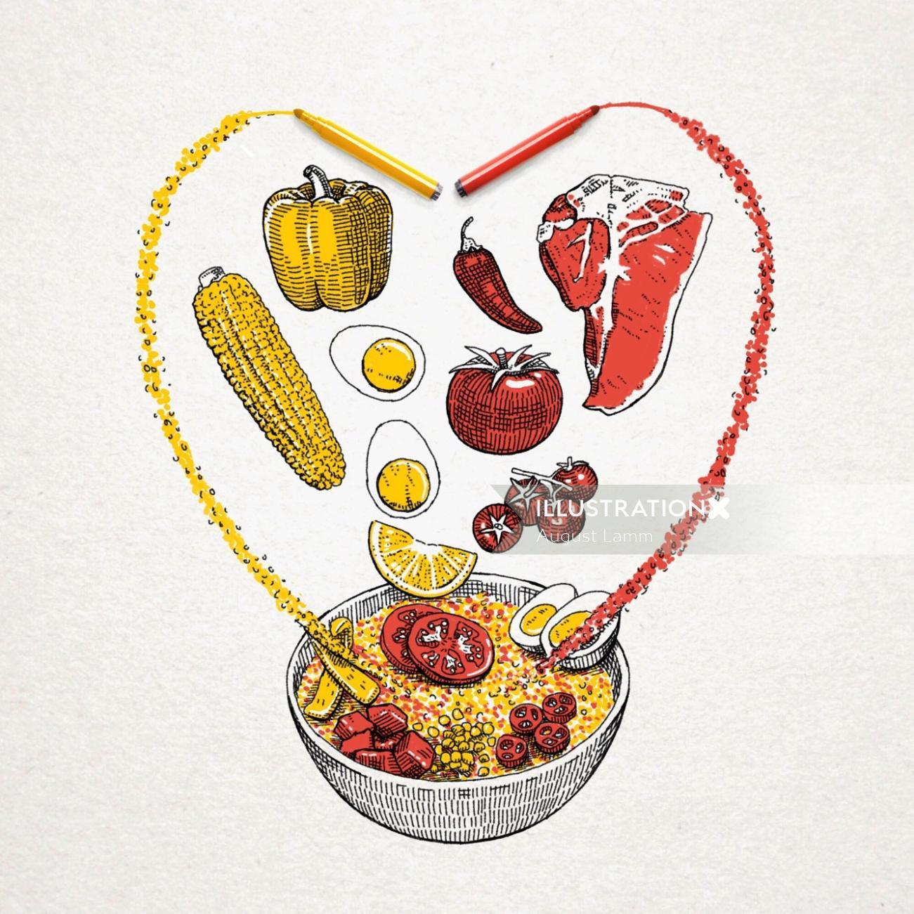 Food illustration for spanish rice company