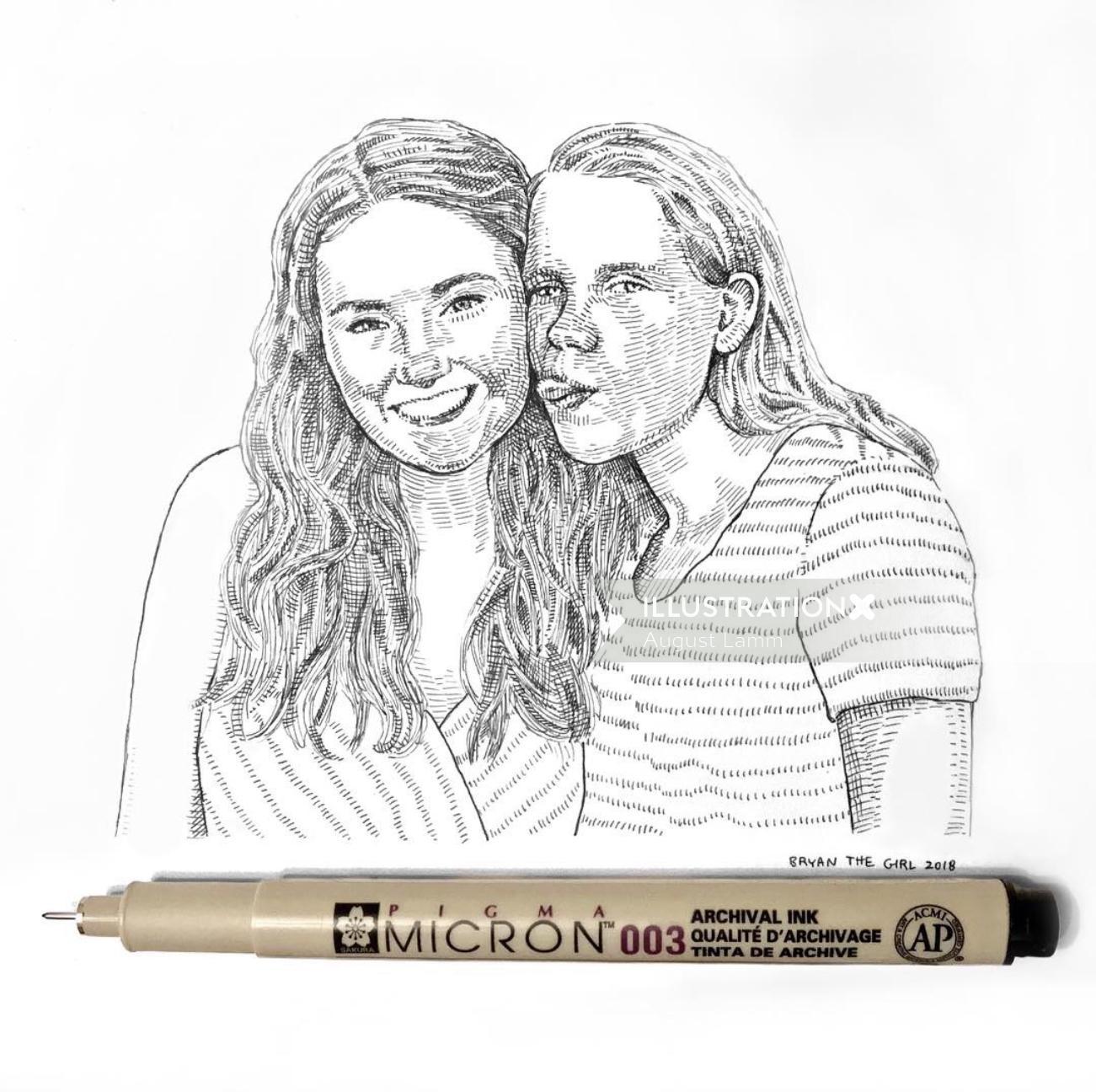 Couple portrait artwork by August Lamm