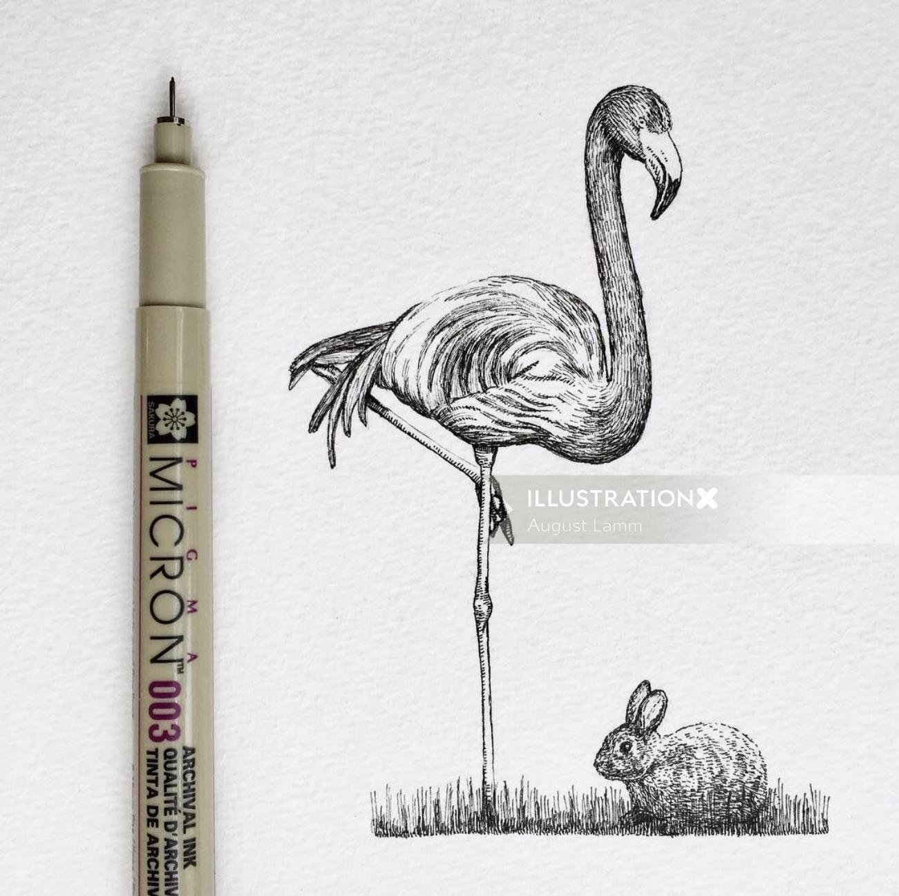 Great egret bird pencil artwork