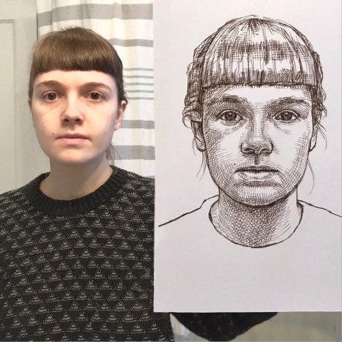 Desenho de retrato de evento ao vivo