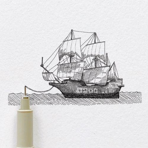 Pencil art of sailing ship