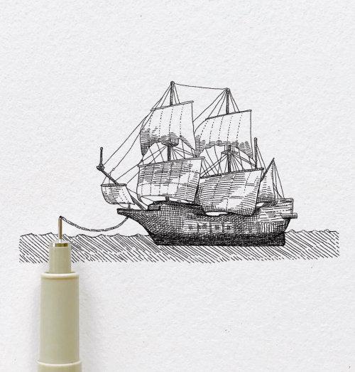 帆船的铅笔艺术
