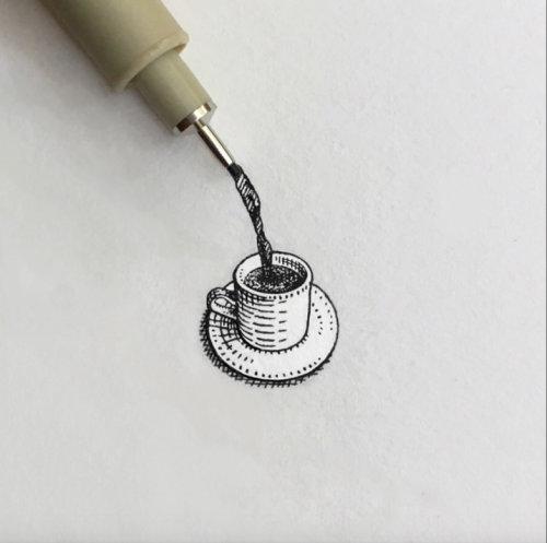 Arte finala do lápis da xícara de café