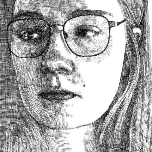 Self portrait art by August Lamm