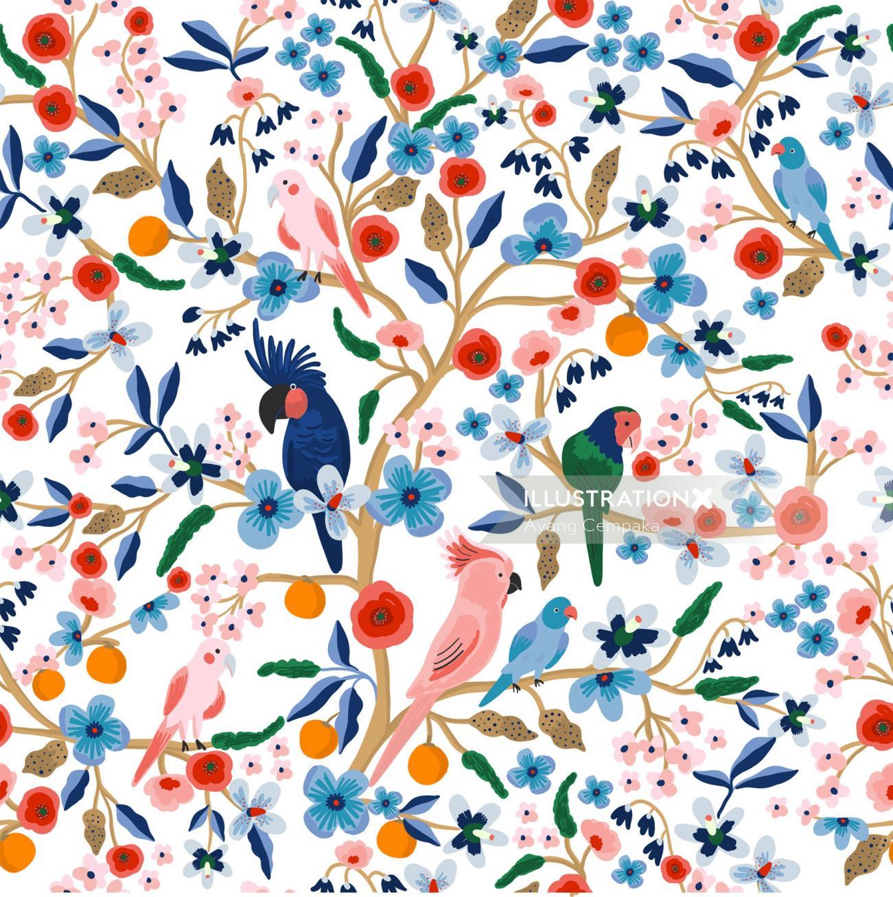 Animals birds in tree