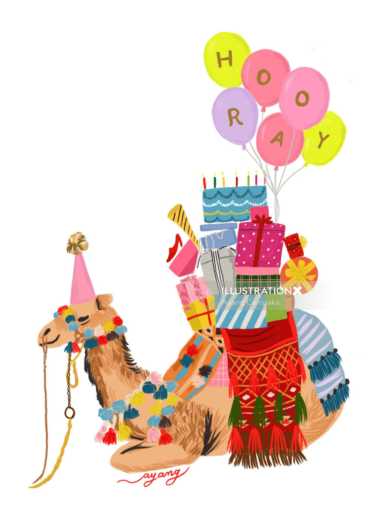 Animals decorated camel