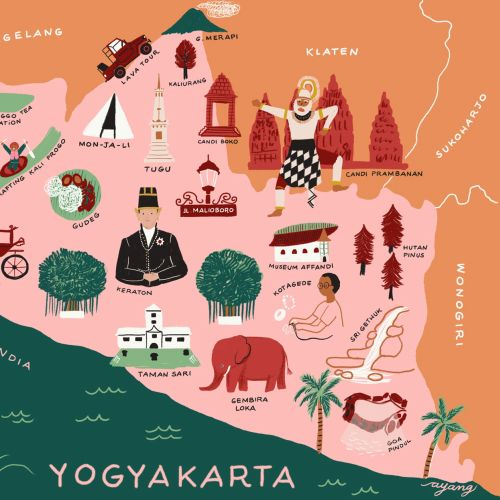 Map illustration of Yogyakarta by Ayang Cempaka