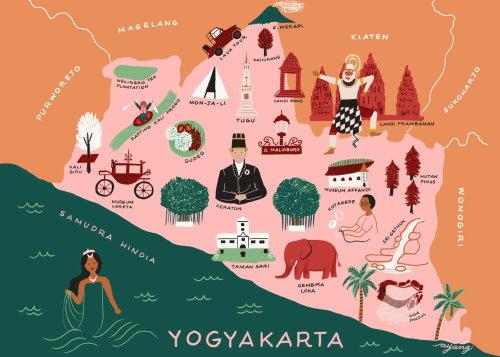 Ilustração do mapa de Yogyakarta por Ayang Cempaka