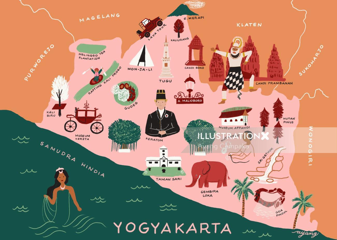 Map illustration of Yogyakarta by Ayang Cempaka