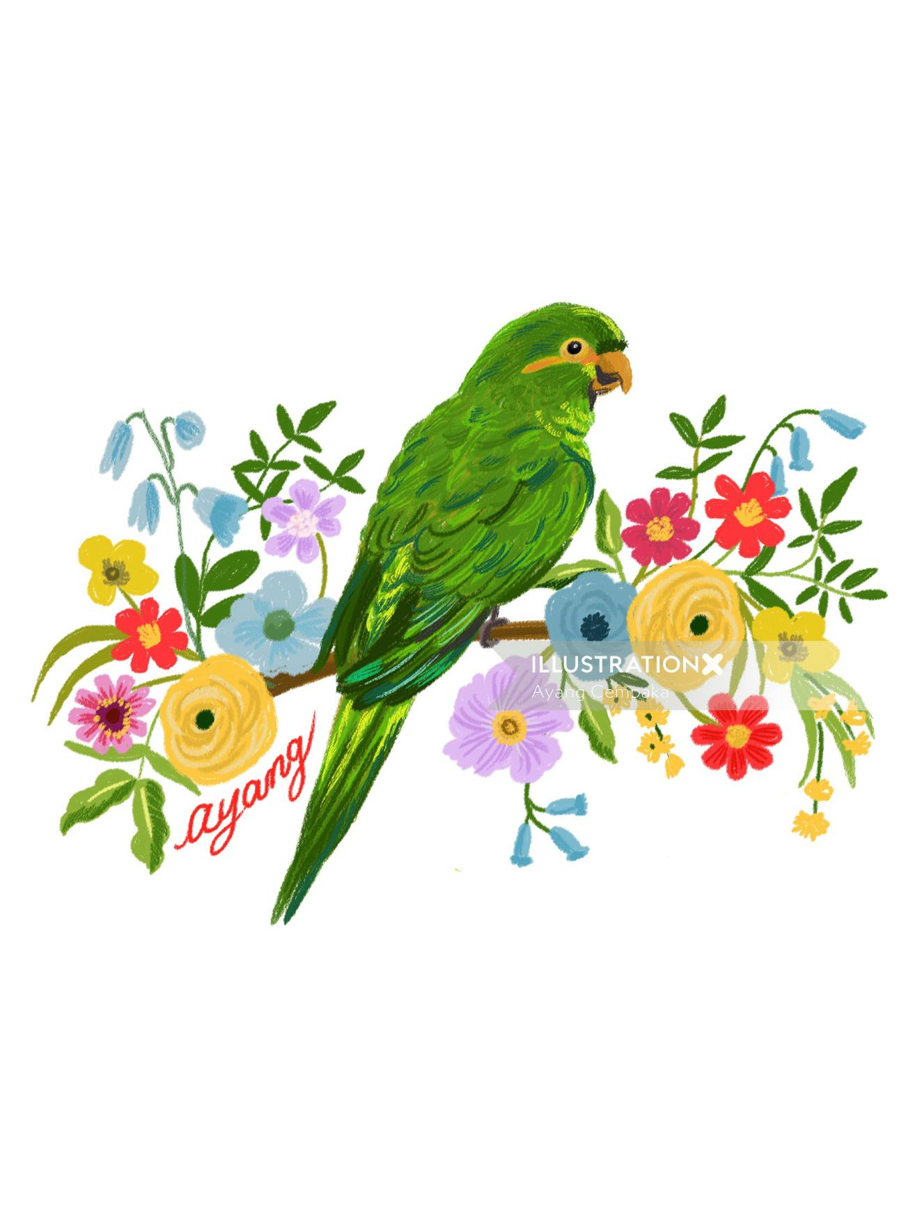 Animals Parrot with flowers