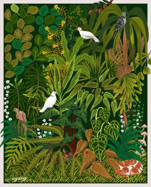Pássaros da natureza na árvore