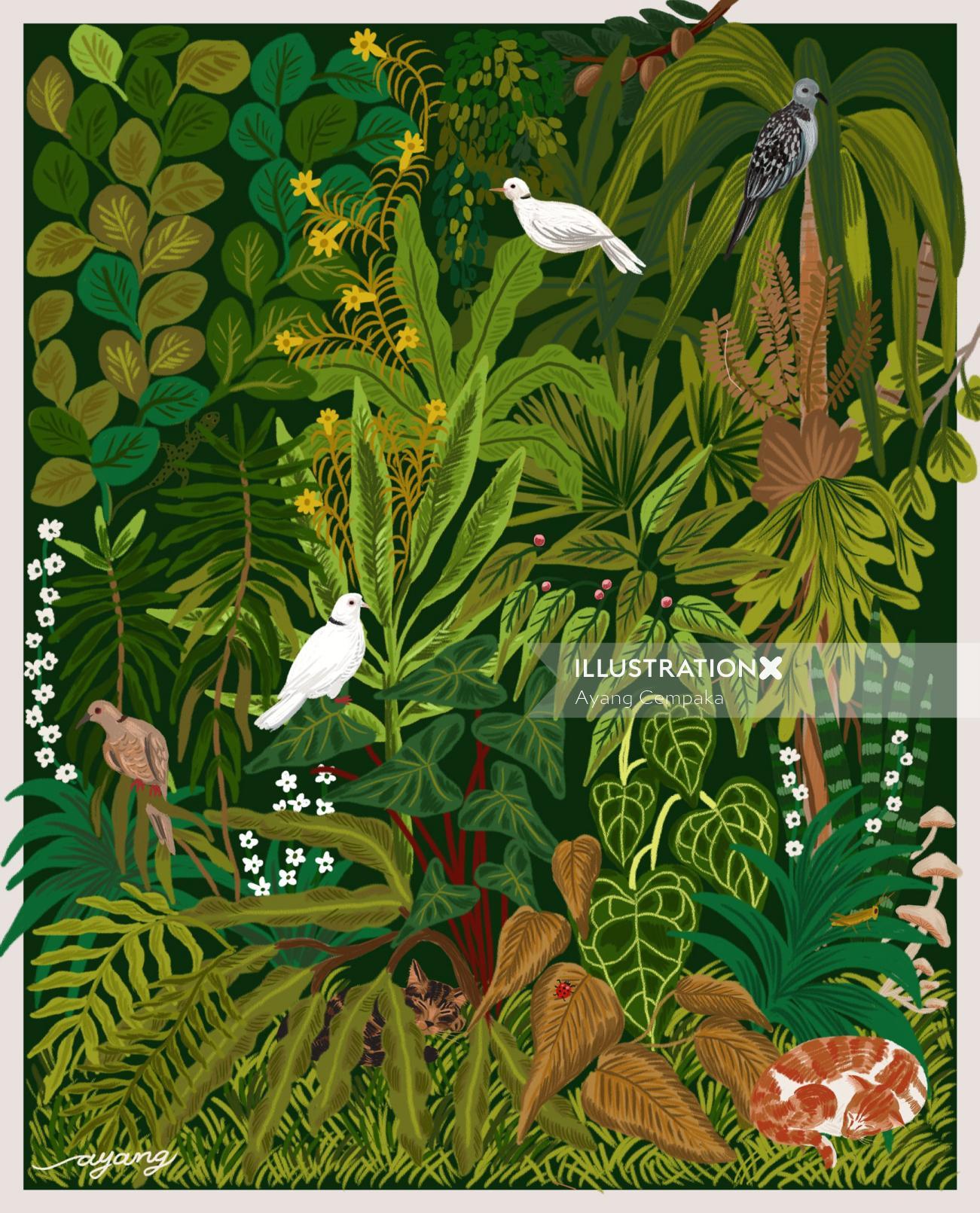 Nature birds on tree