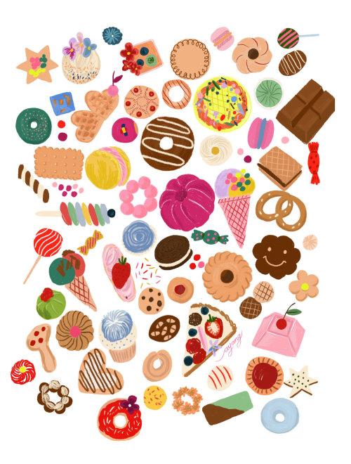 Comida e bebida, vários alimentos de padaria