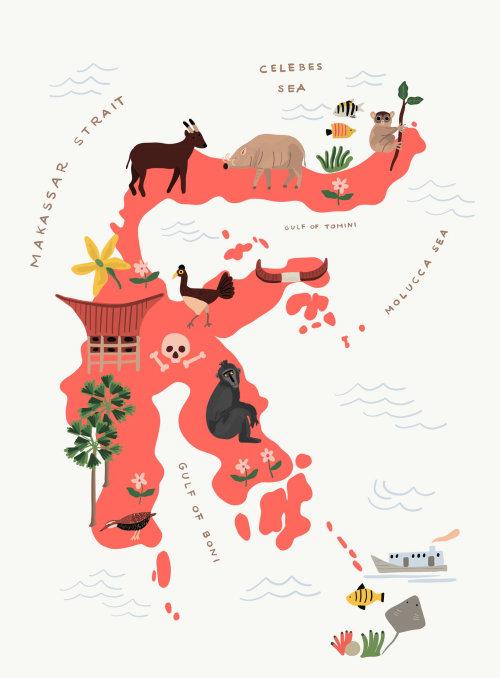 Ilustração do mapa do estreito de Makassar por Ayang Cempaka