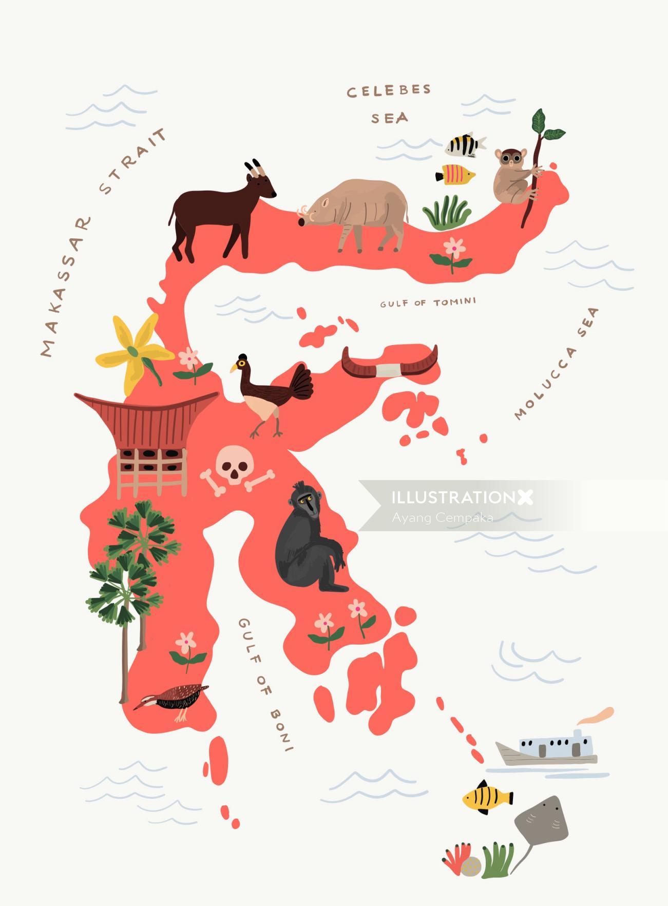 Makassar strait map illustration by Ayang Cempaka