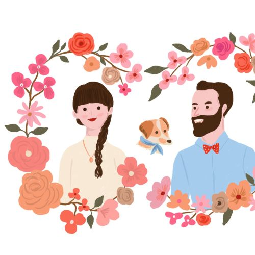 Watercolor illustration of couple with floral frame
