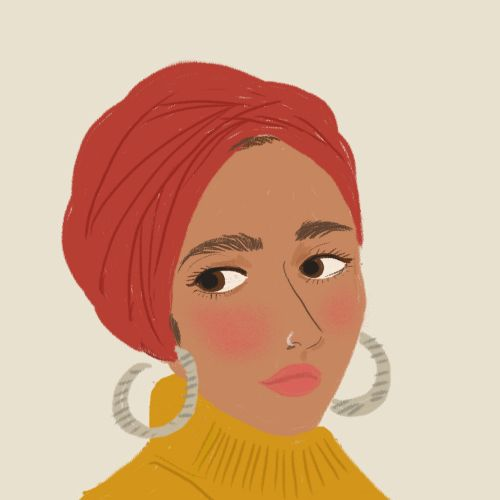 Digital illustration of traditional woman