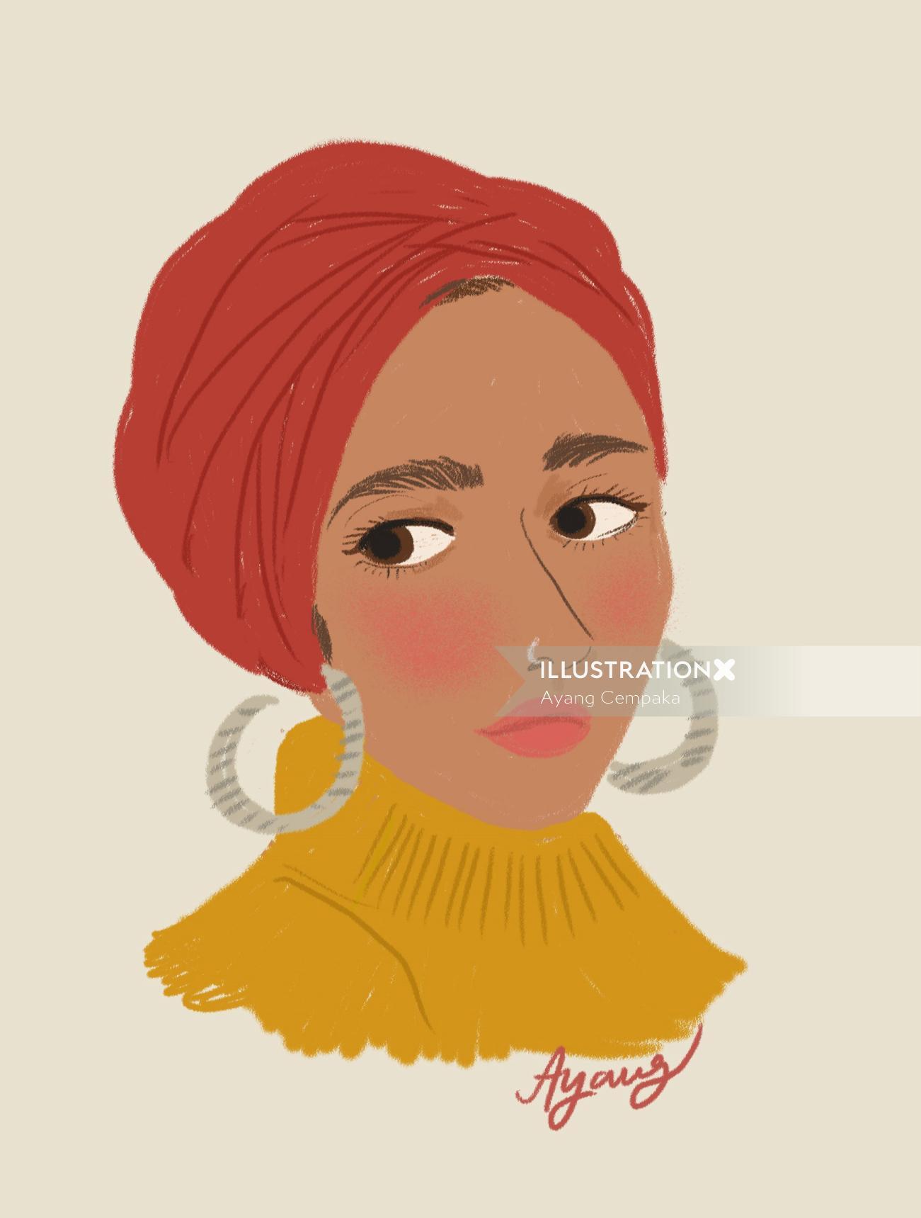 Digital illustration of traditional woman