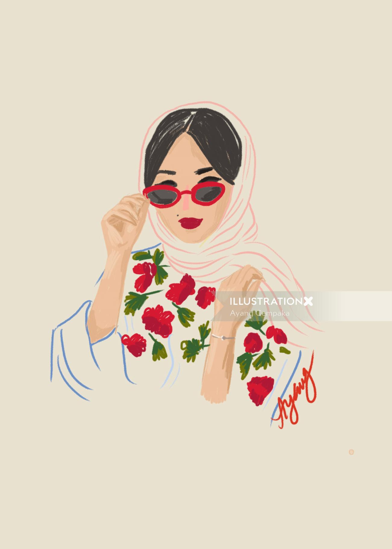 Illustration of woman with floral dress