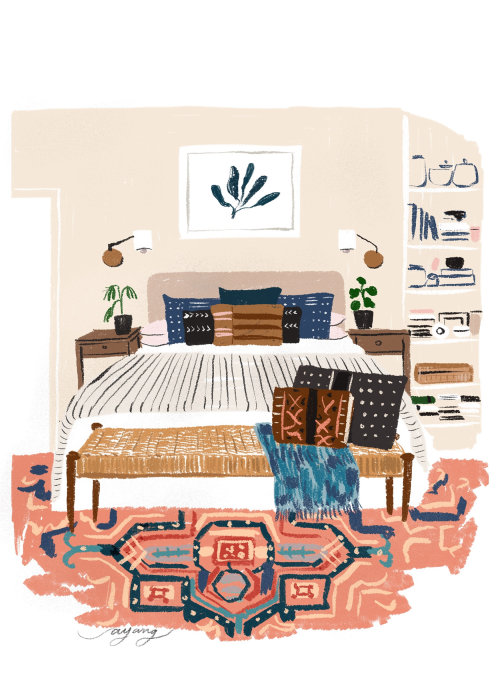 watercolor illustration of bedroom