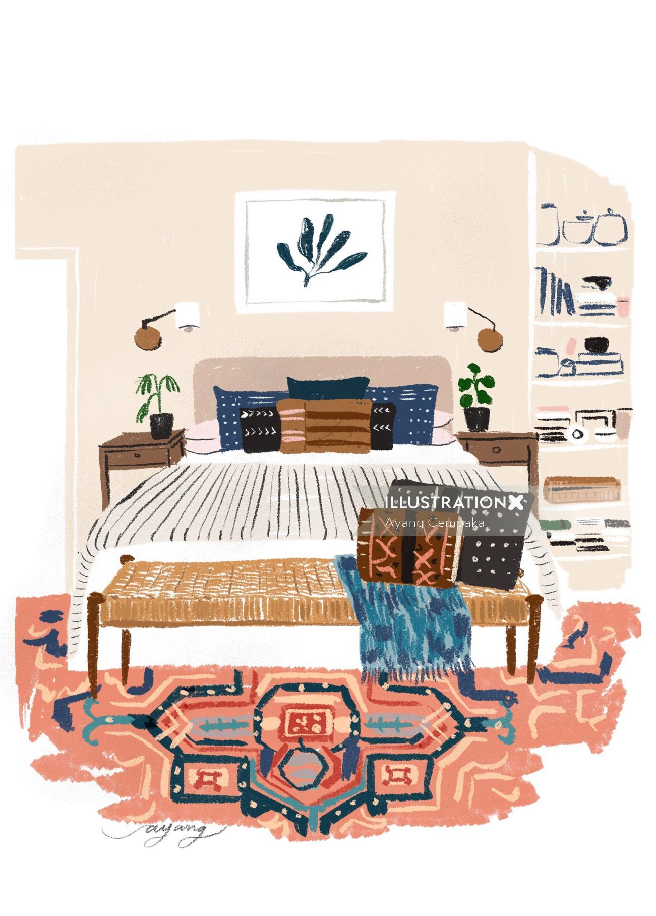 watercolor illustration of bedroom
