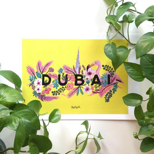 Letras em aquarela DUBAI