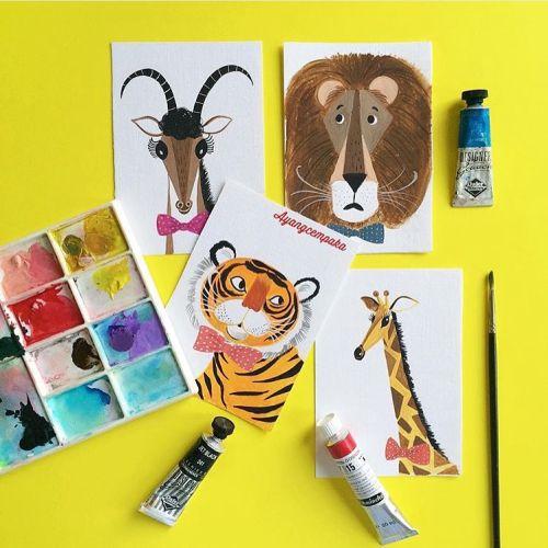 watercolor paint of wild animals
