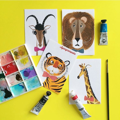 watercolor paint of wild animals
