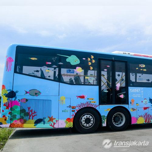 Oceano decorativo no ônibus