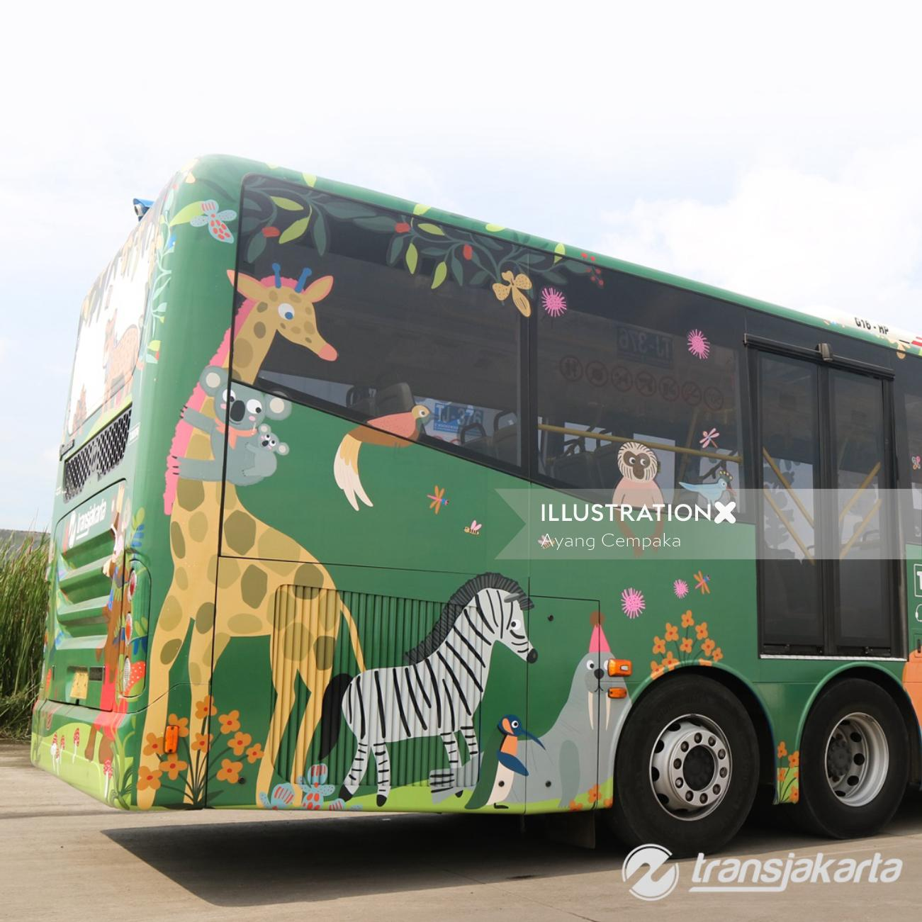 Decorative zebra on bus