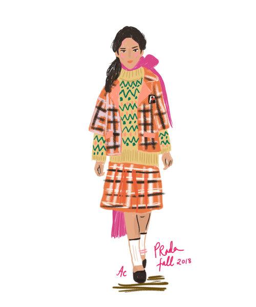 Ilustração de moda Prada outono de 2018