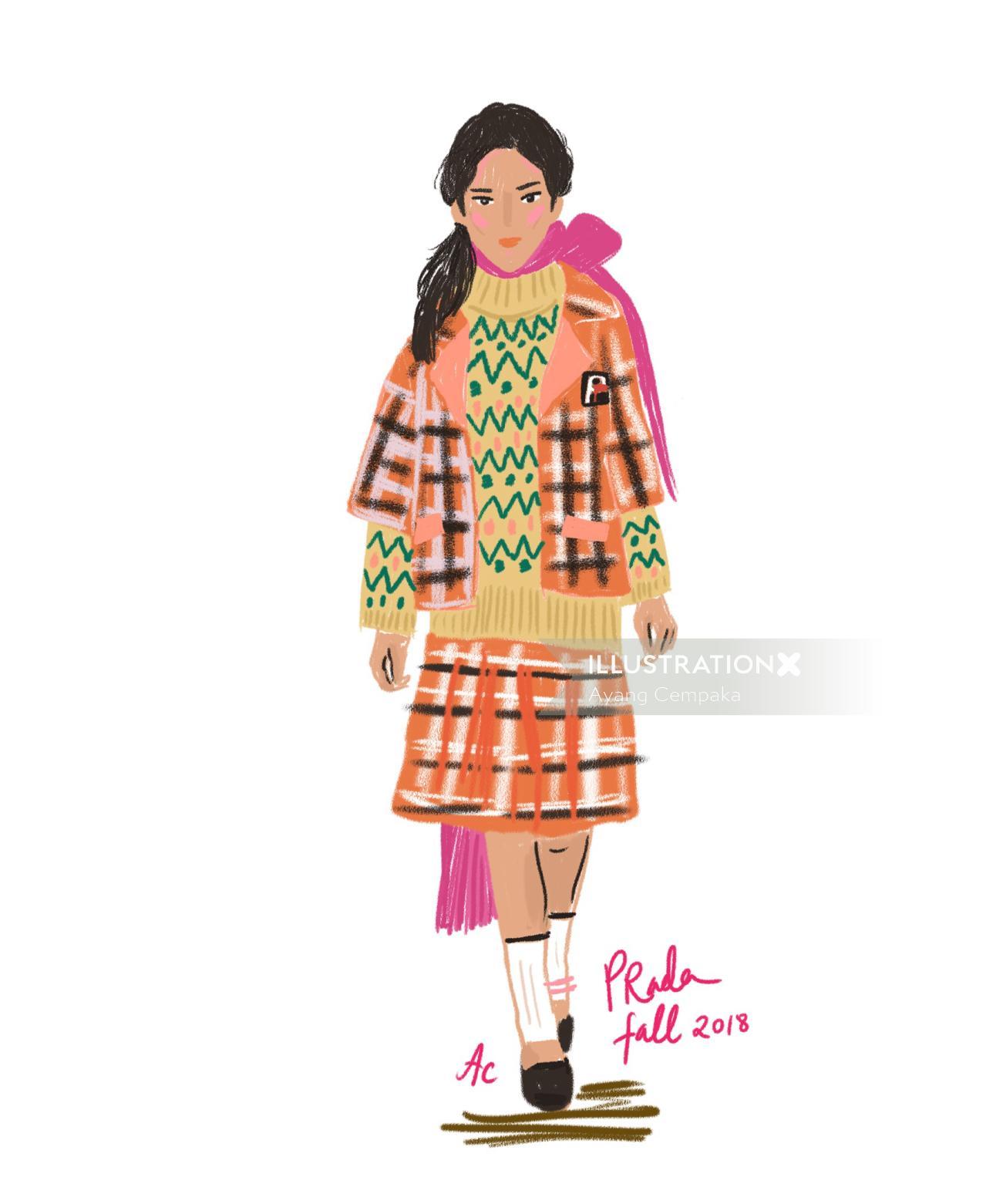 Fashion illustration Prada fall 2018