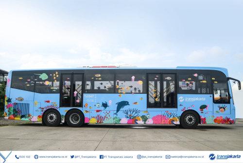 公共汽车上的动物鱼图形