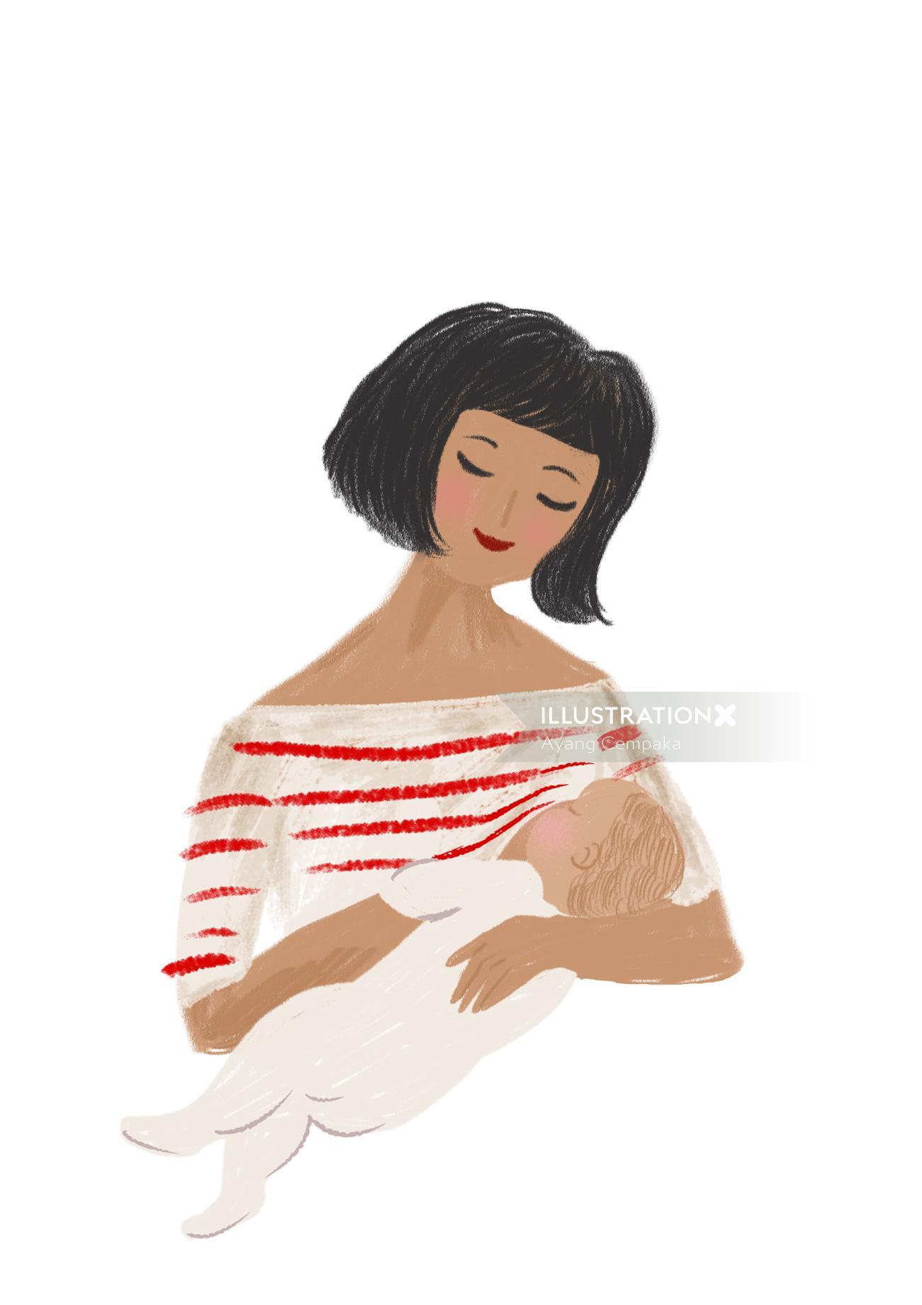 Lifestyle of woman feeding baby