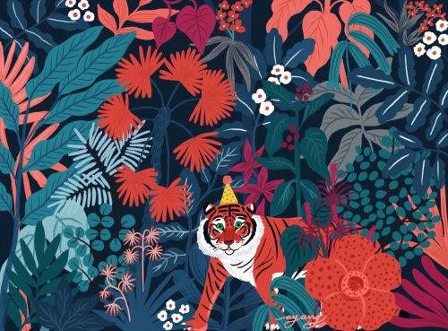 Tigre de Sumatra vai a uma festa