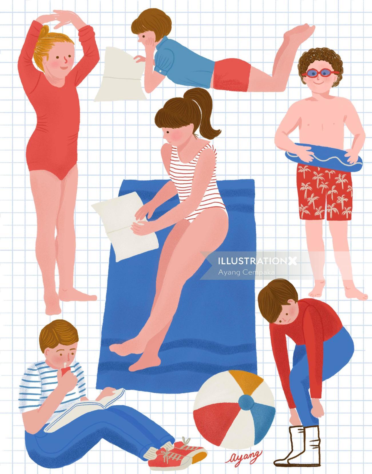 Childrens illustration beach wear