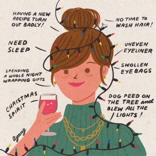 Graphic girl with daily schedule