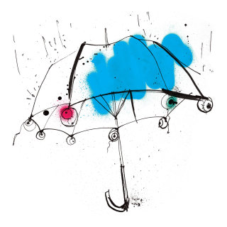 Hand drawn watercolor painting of Blue umbrella