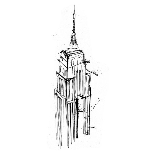 Empire state building line drawing