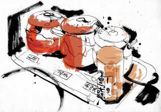 Drawing of japanese restaurant spice food and drink
