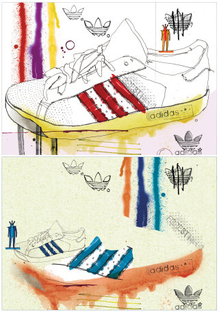 Adidas shoe fashion illustration